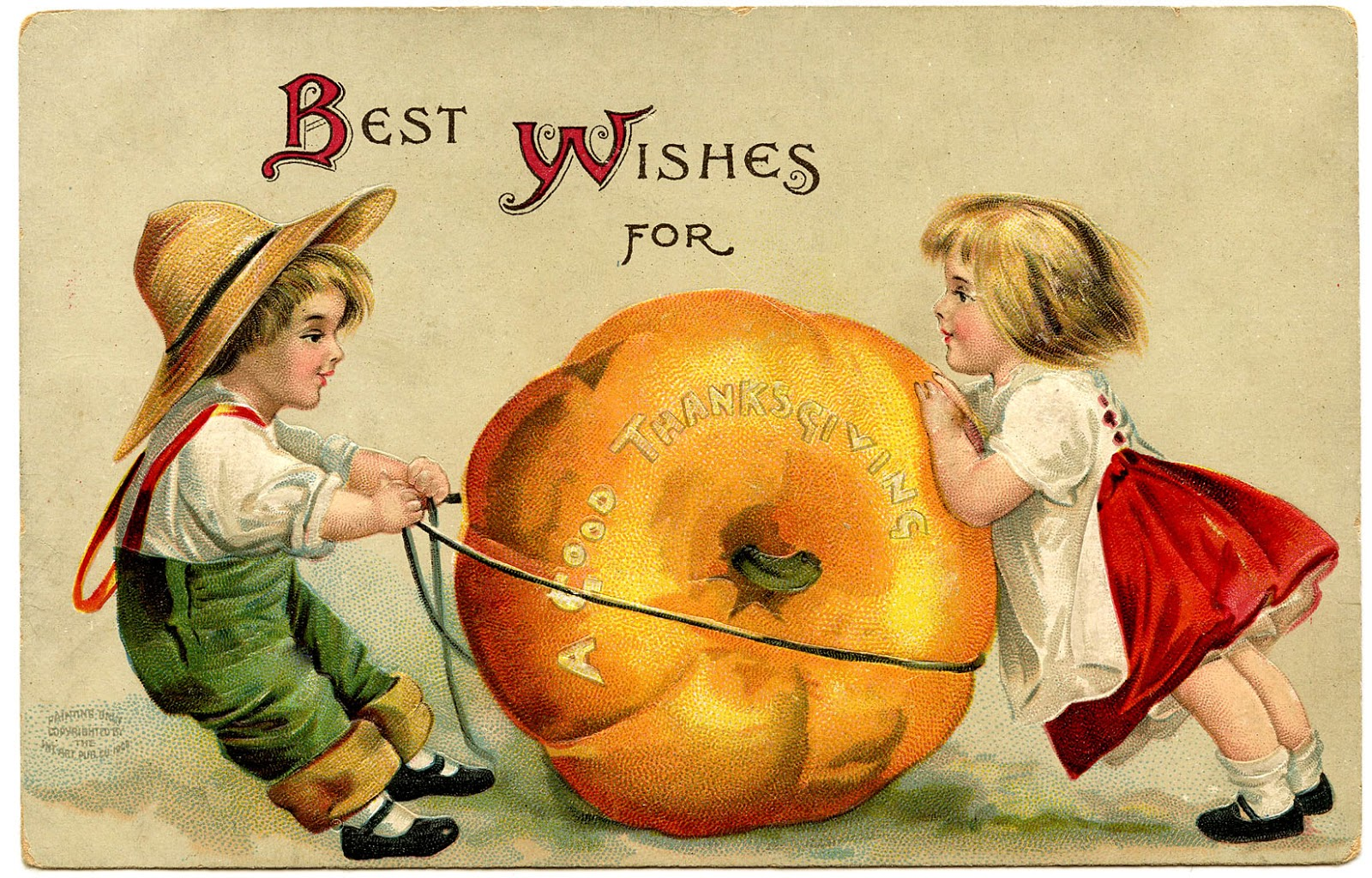 Vintage Thanksgiving Image Cute Kids With Pumpkin The