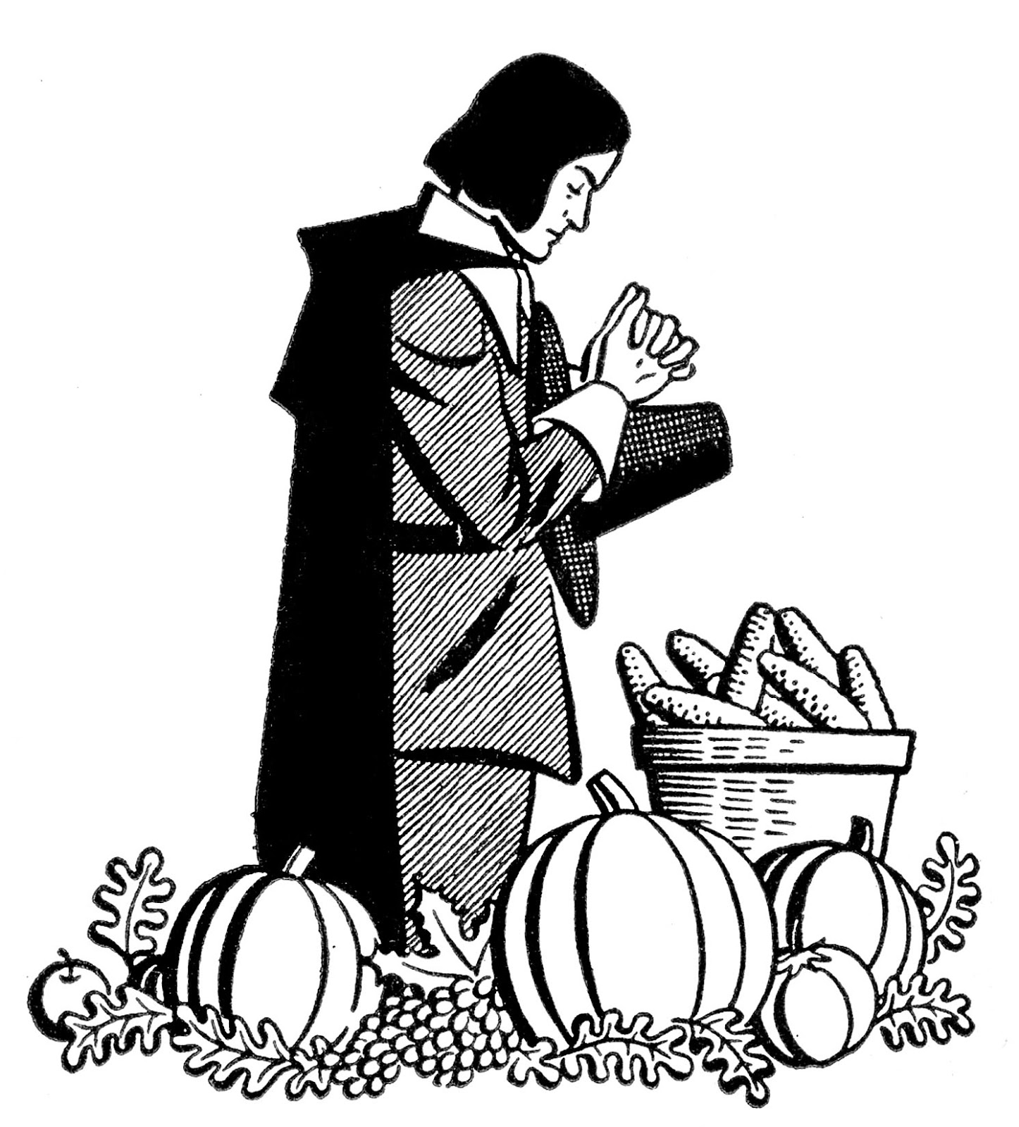 vintage thanksgiving clip art pilgrim praying the graphics fairy rh thegraphicsfairy com pilgrim clip art black and white pilgrim clipart thanksgiving free