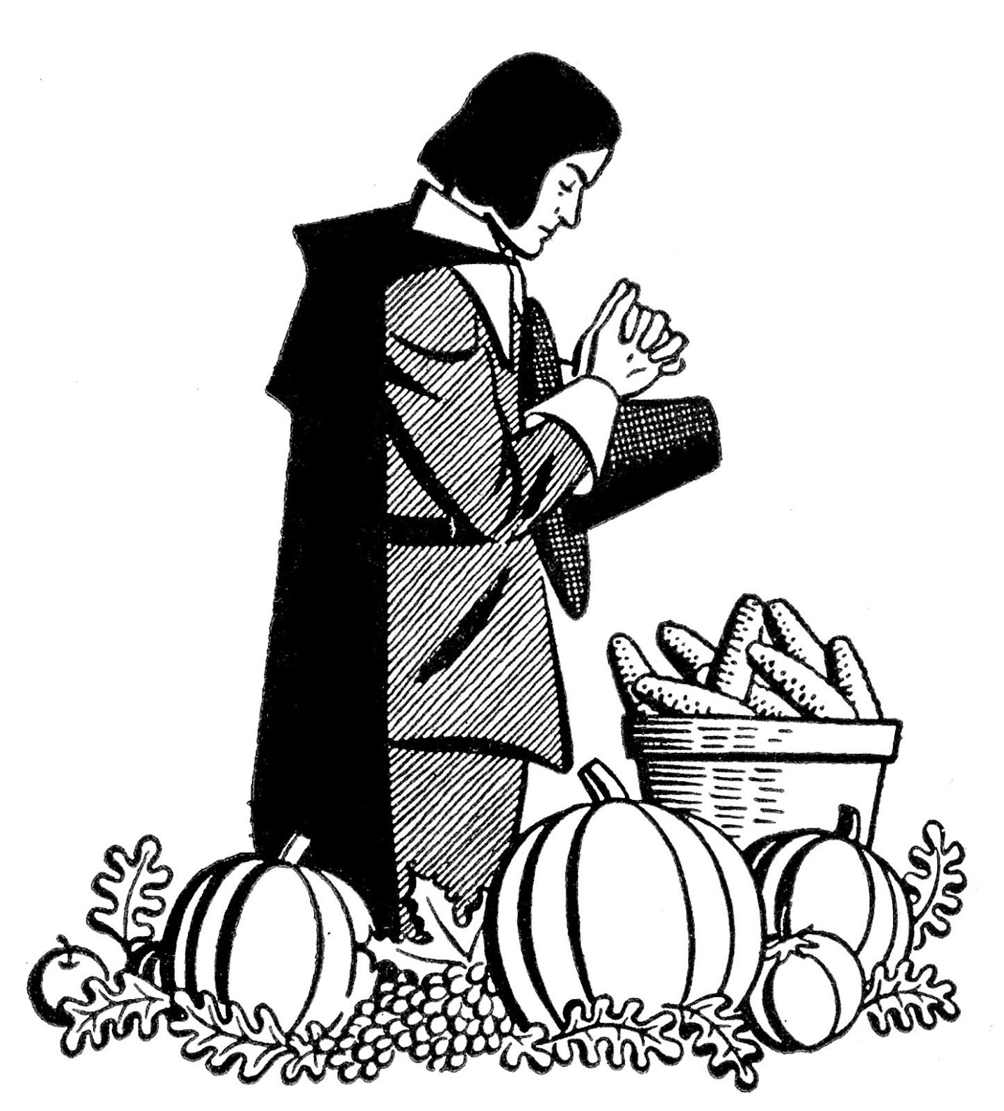 Vintage Thanksgiving Clip Art - Pilgrim Praying - The Graphics Fairy