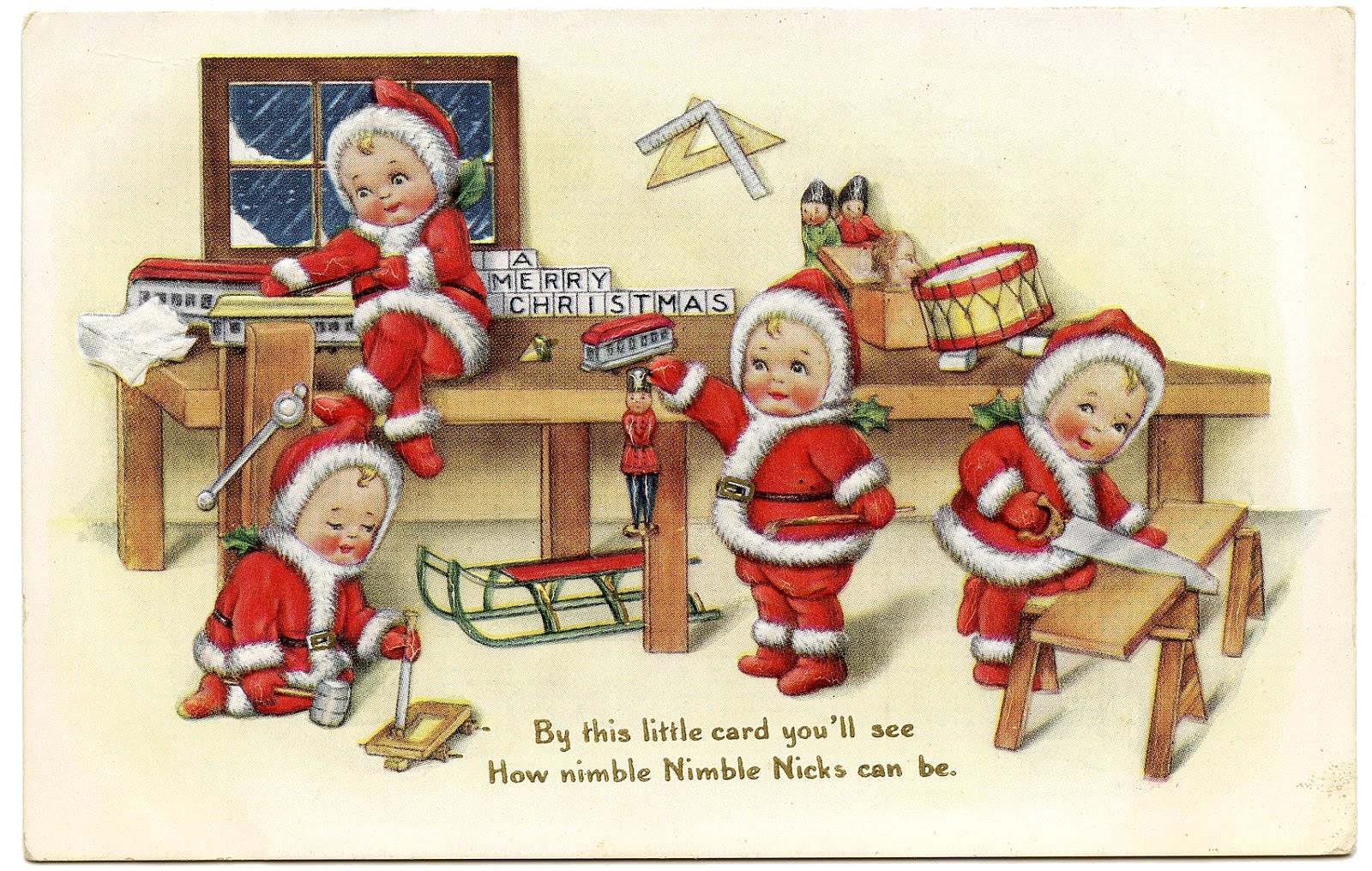 Vintage Christmas Image - Cute Baby Santas - The Graphics ...