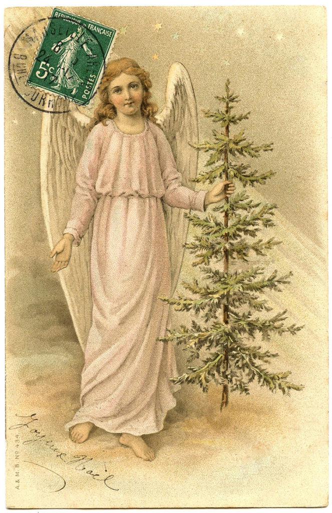 French Angel with Christmas Tree Clipart