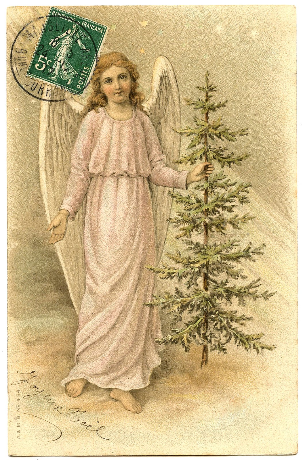 Vintage Image - Lovely French Angel with Tree - The Graphics Fairy