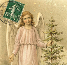 angel with tree and stamp