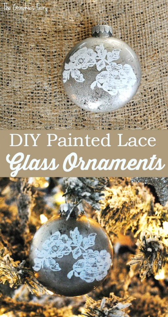 DIY Painted Lace Glass Ornaments