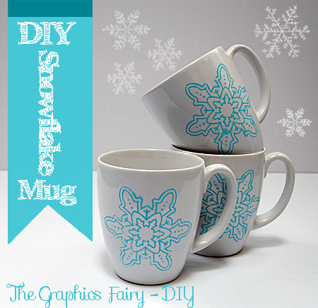 Diy Painted Snowflake Mugs Repurposed The Graphics Fairy