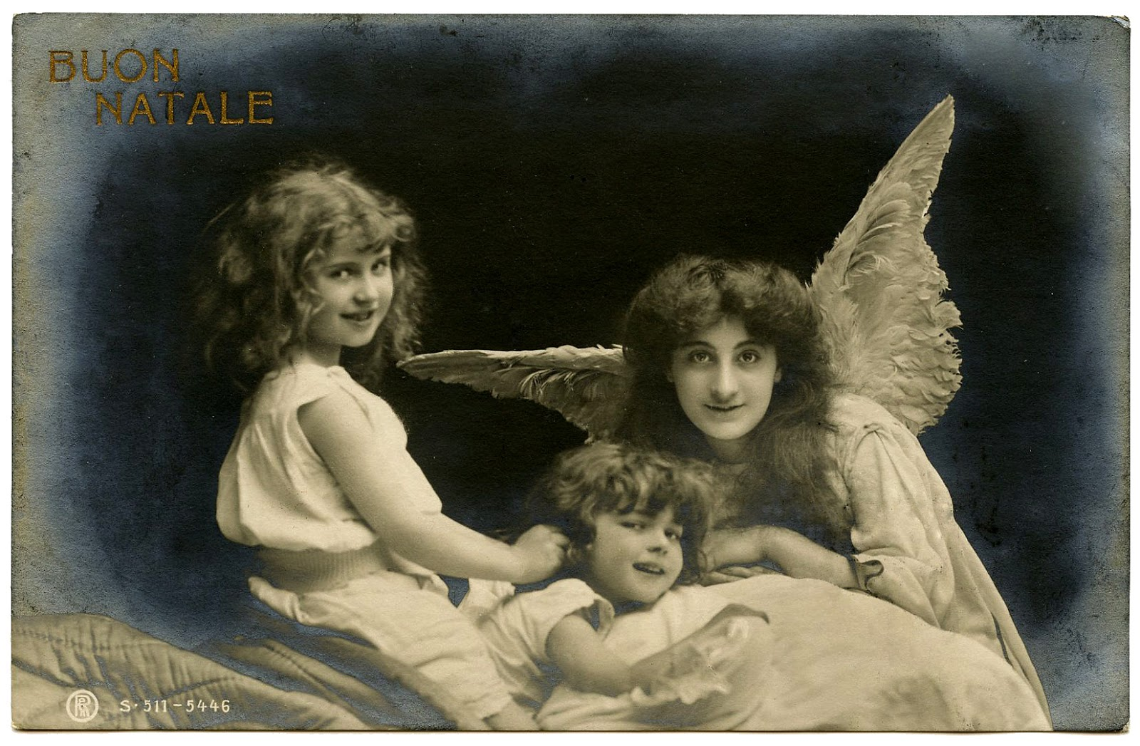 Old Christmas Photo - Angel with Children -Italy - The Graphics Fairy