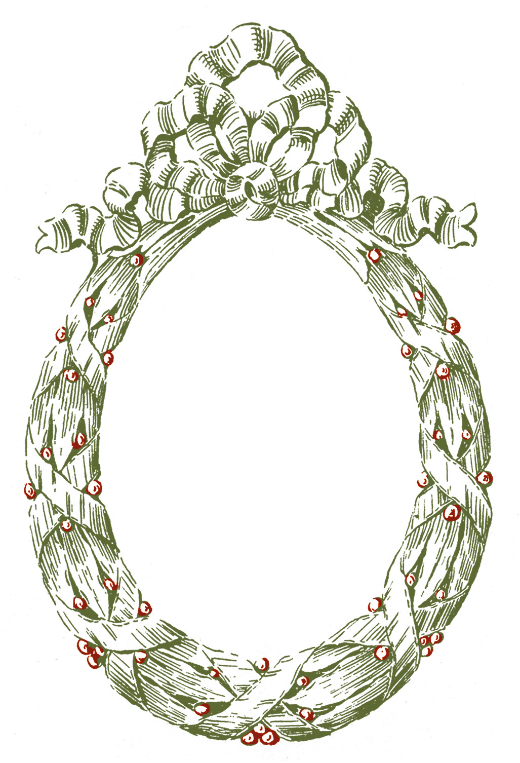 Vintage Graphic Frame - Oval Christmas Wreath - The Graphics Fairy