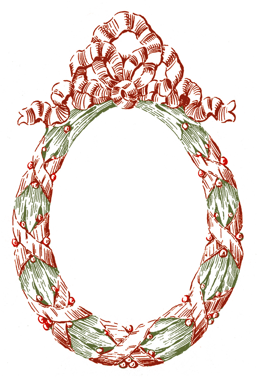 Red and Green Laurel Wreath Image