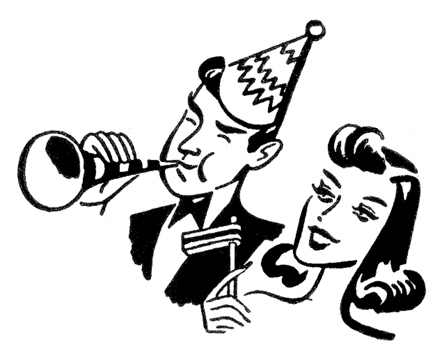 retro new year clipart party man woman