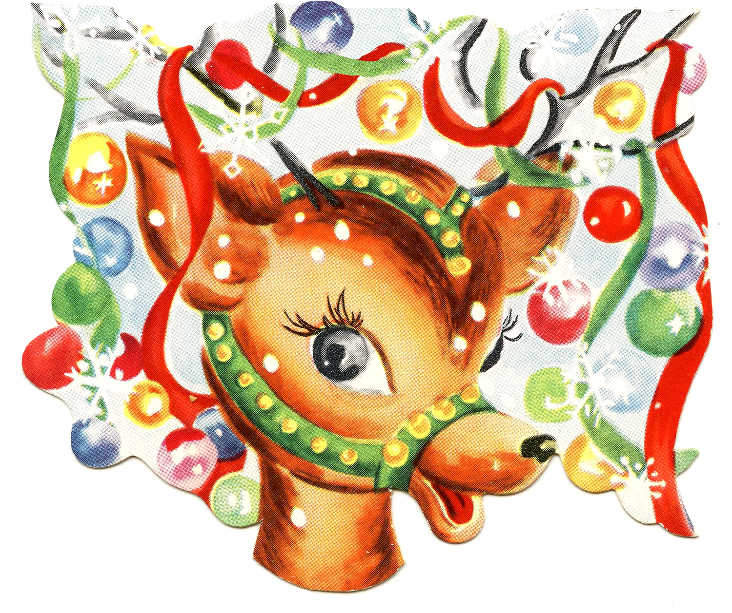Retro Christmas Image - Colorful Cute Reindeer - The Graphics Fairy