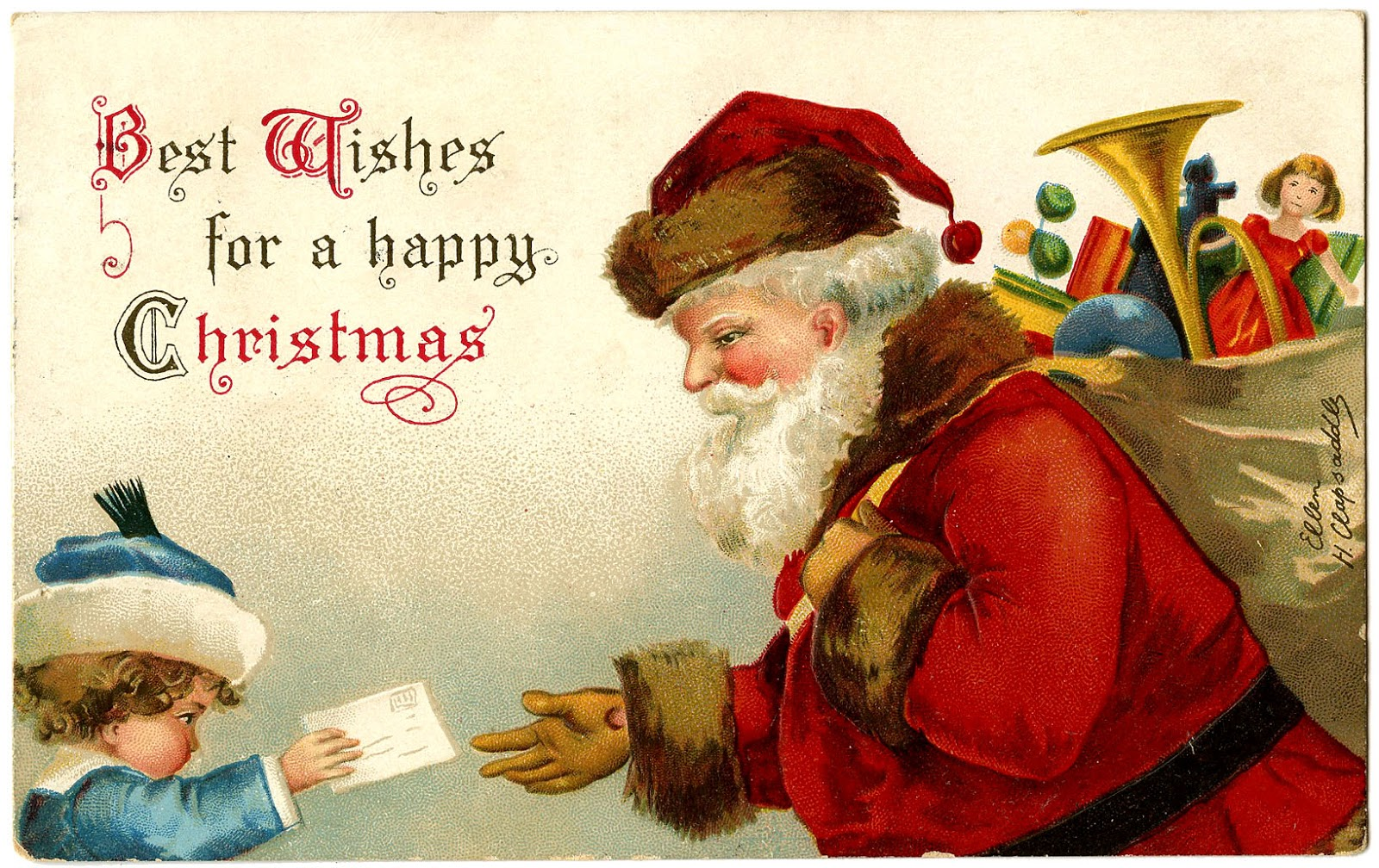 Antique Image  Santa Gets Letter From Child  The Graphics Fairy