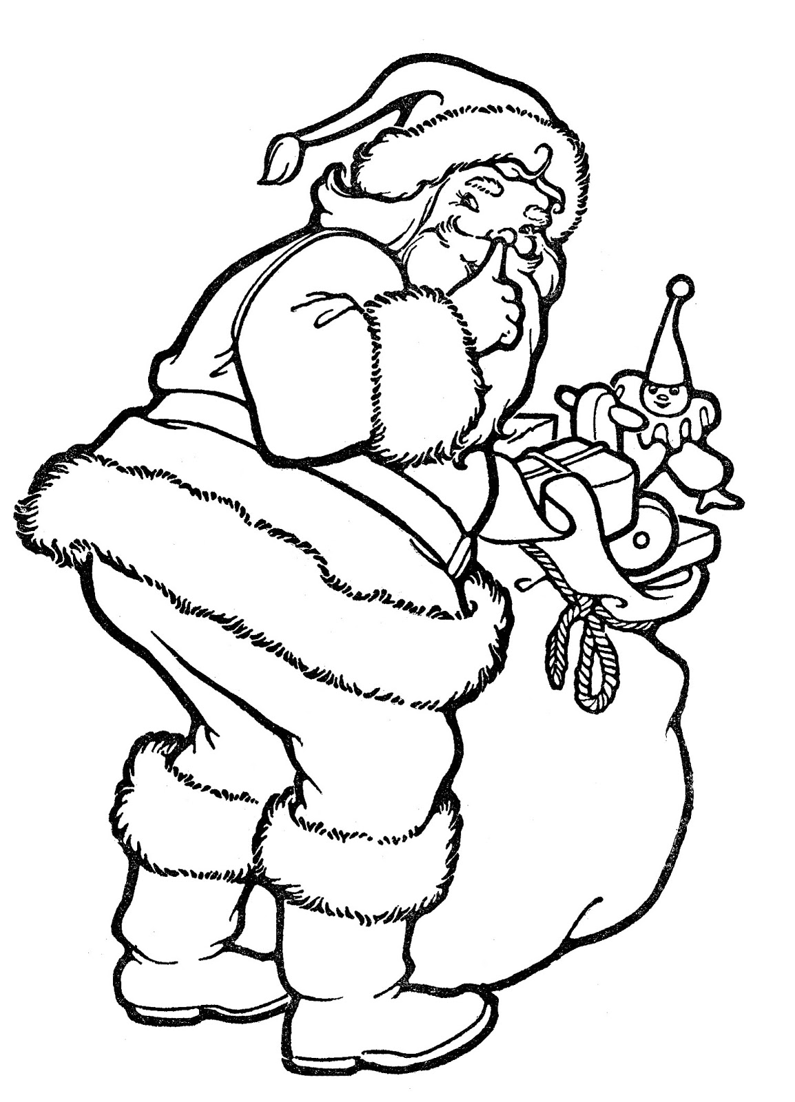 Line Art Images : Vintage christmas line art santa with toys the