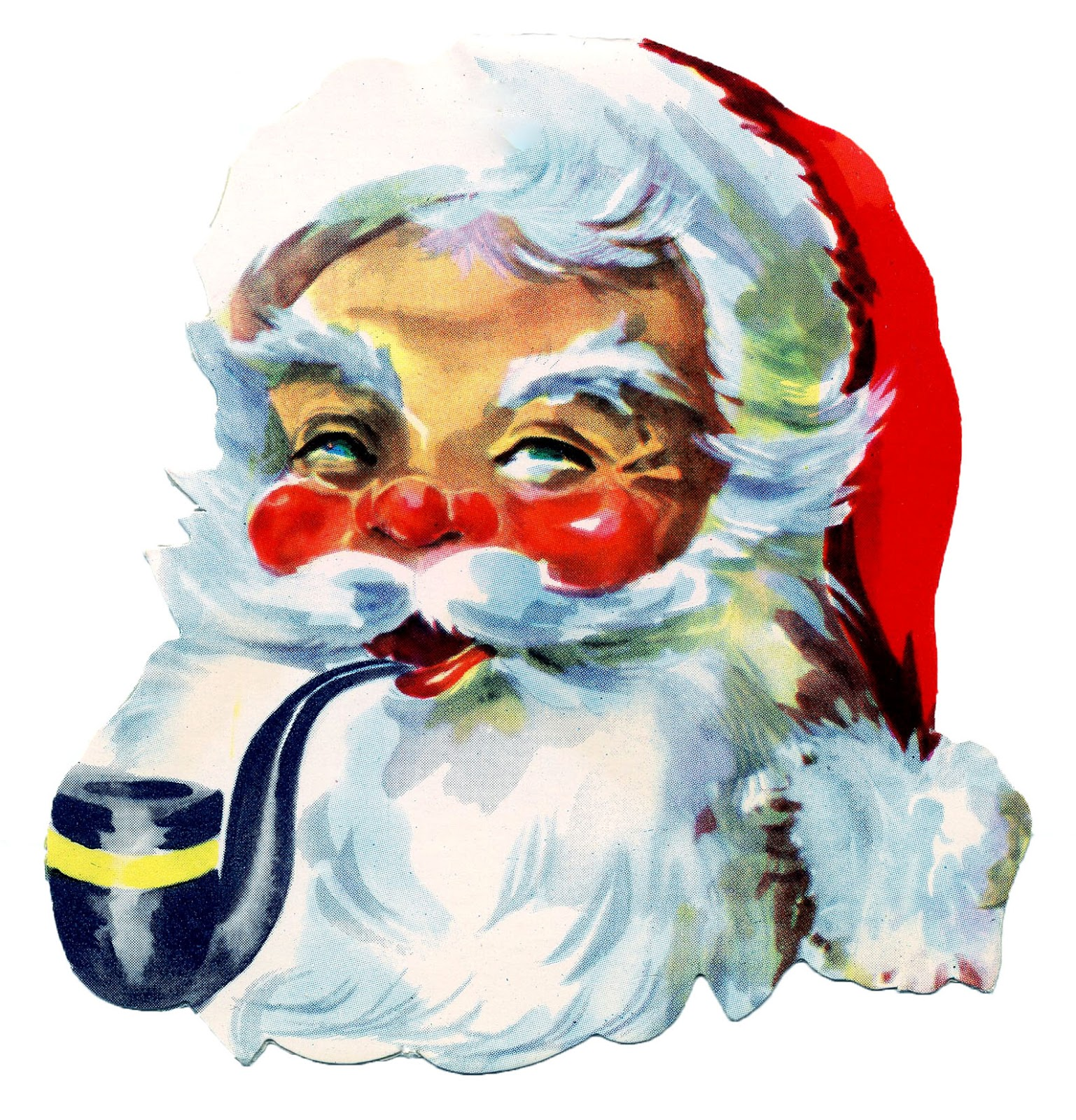Retro Graphic Gorgeous Rosy Cheeked Santa With Pipe