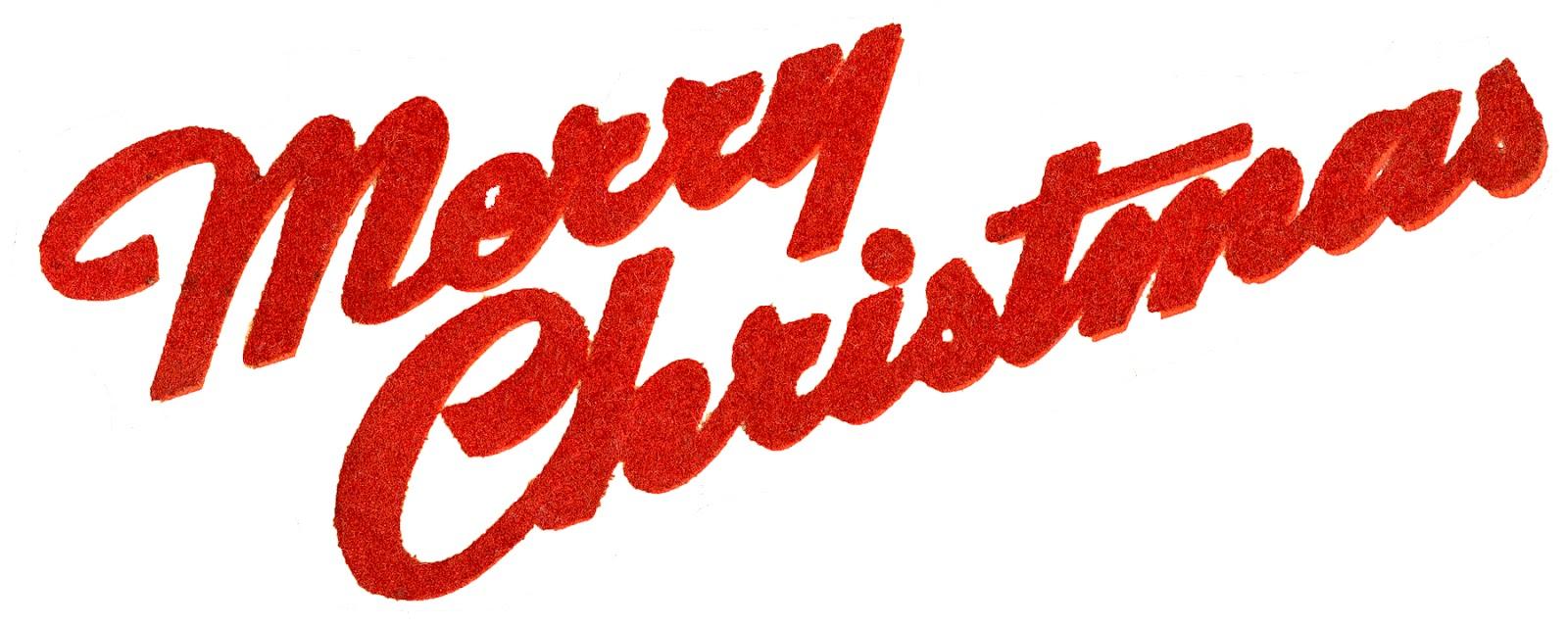 Retro Typography Flocked Merry Christmas