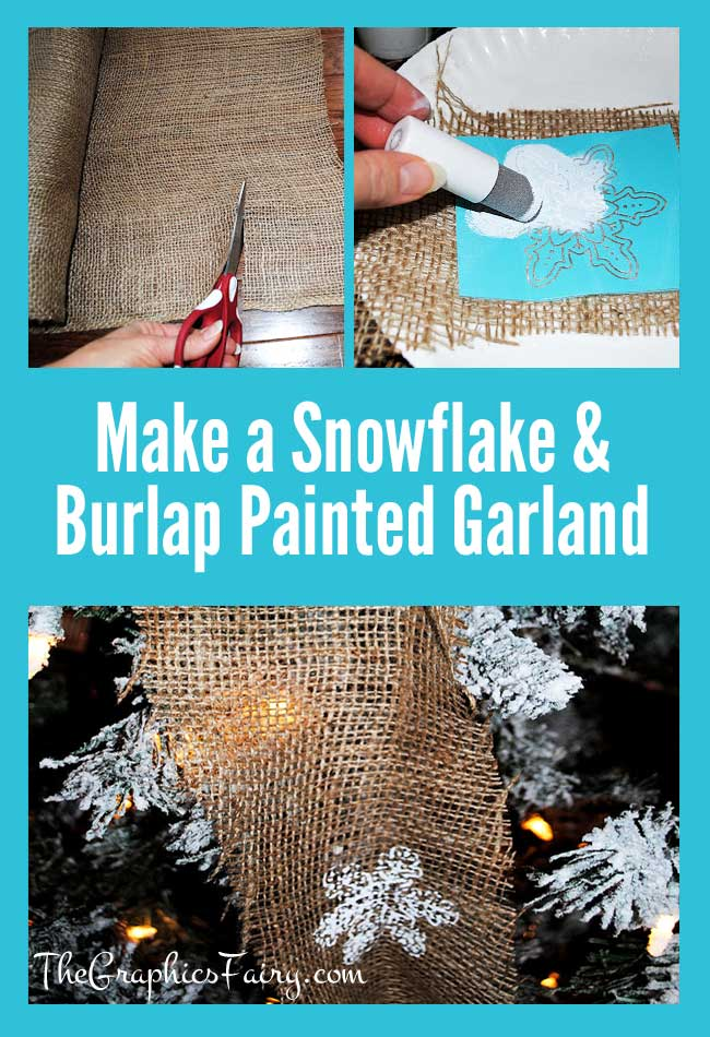 How to make a Painted Snowflake Burlap Garland // The Graphics Fairy