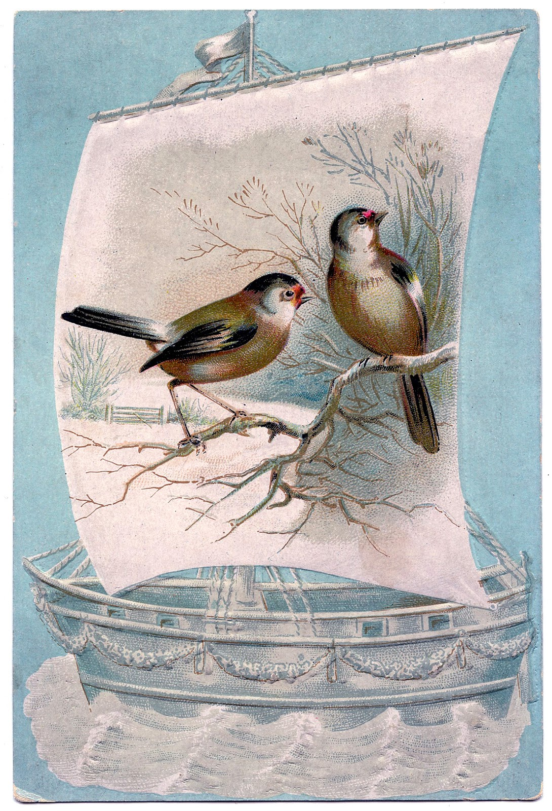 vintage image winter birds on sailboat the graphics fairy