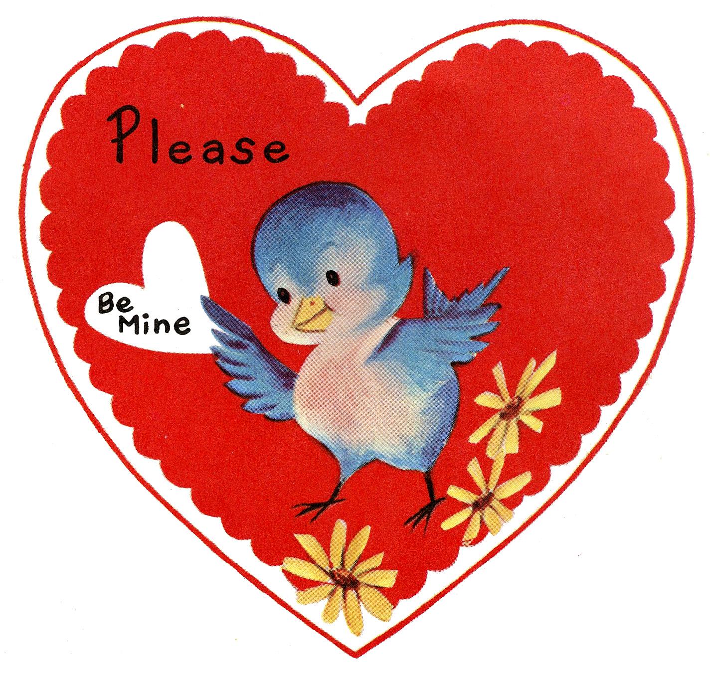 Retro Valentine Image Cute Lil Bluebird The Graphics Fairy