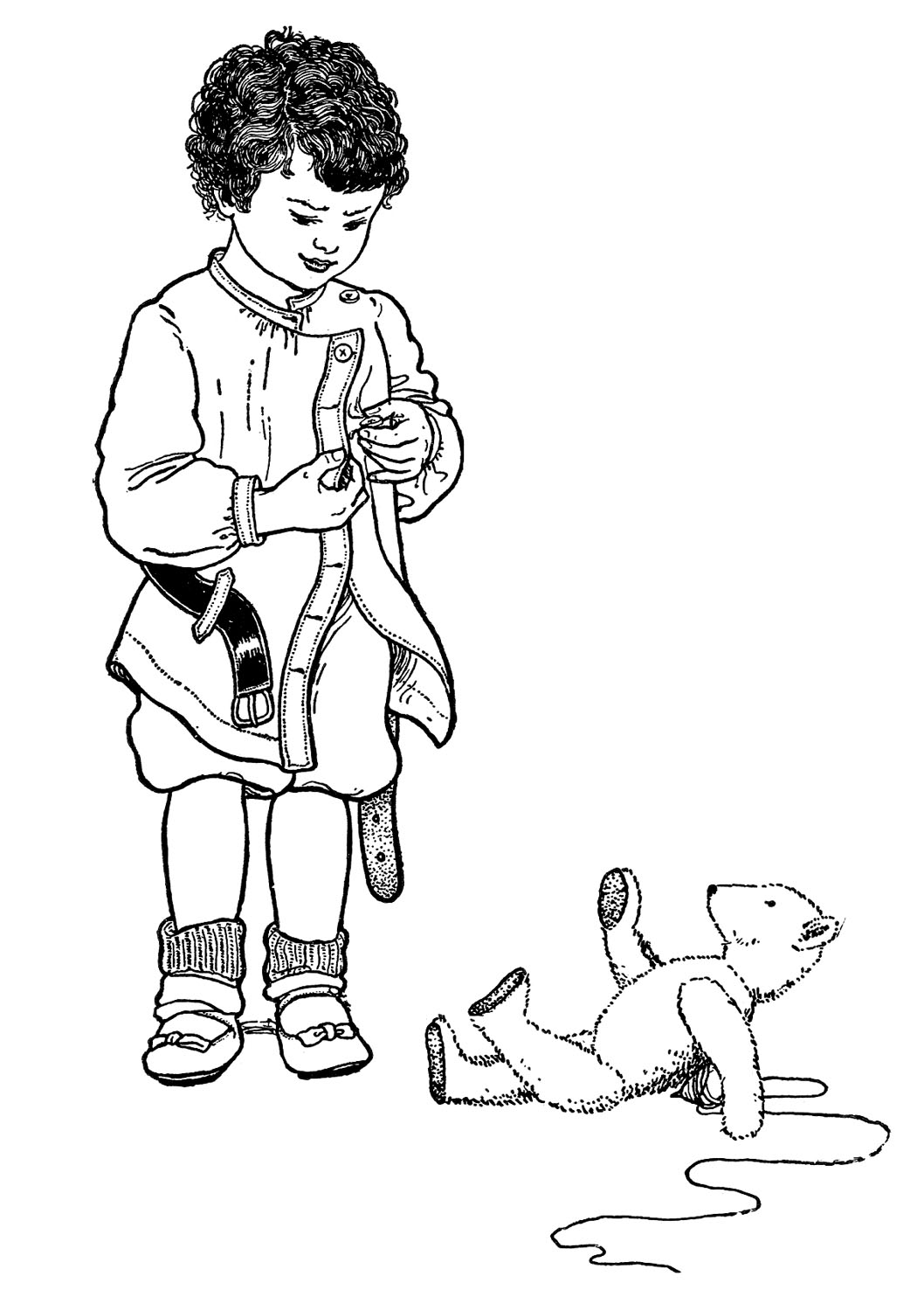 Antique Clip Art Little Boy With Buttons And Bear The