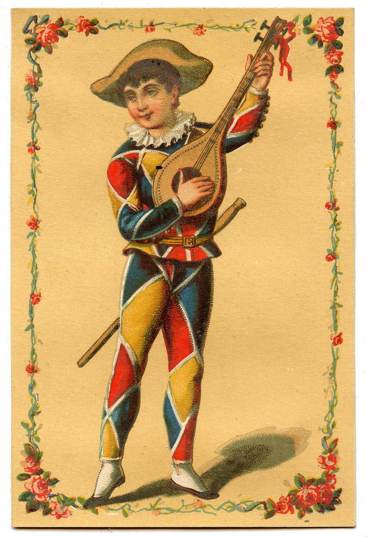 Vintage Image - Harlequin Clown Boy - Mardi Gras - The Graphics Fairy