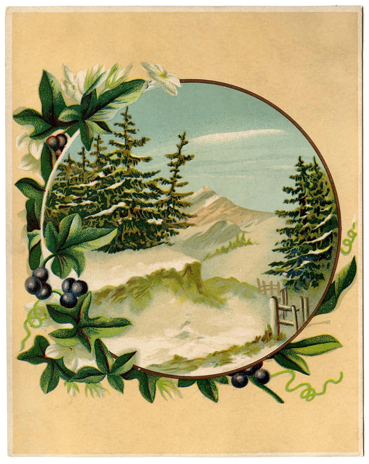 Mountain scene vintage christmas pinterest for Graphics fairy