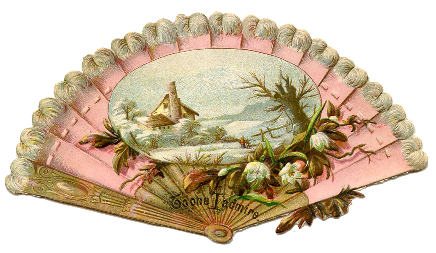 Vintage Image Ladies Pink Fan The Graphics Fairy