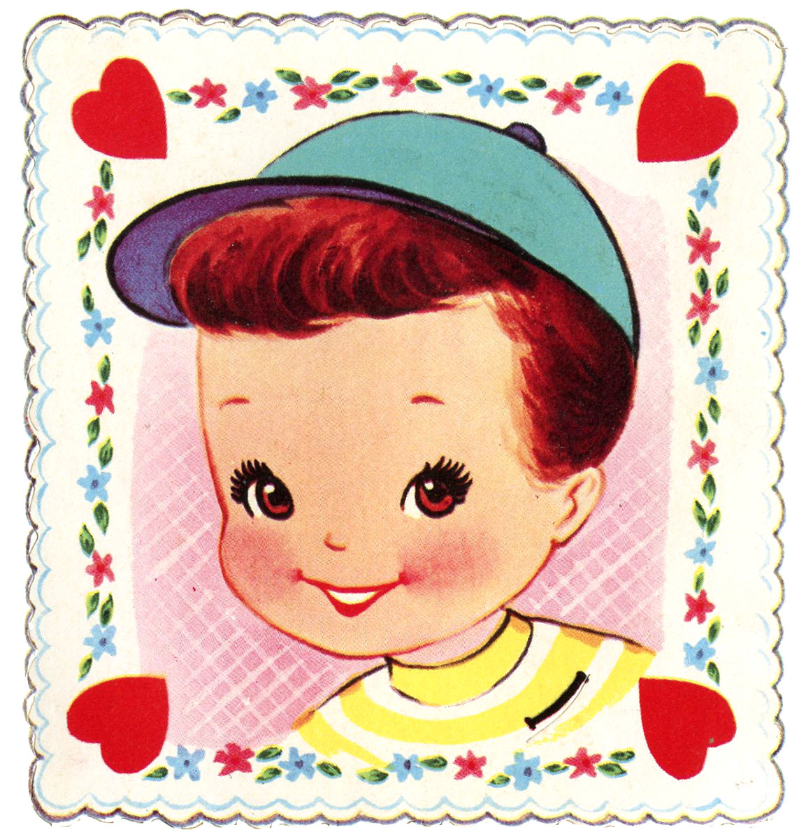 Cute Retro Valentin Boy Square