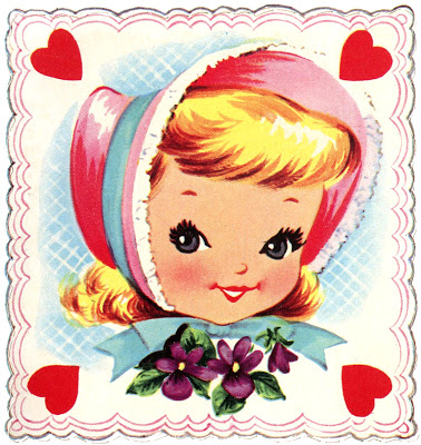 Retro Valentine Image Little Girl