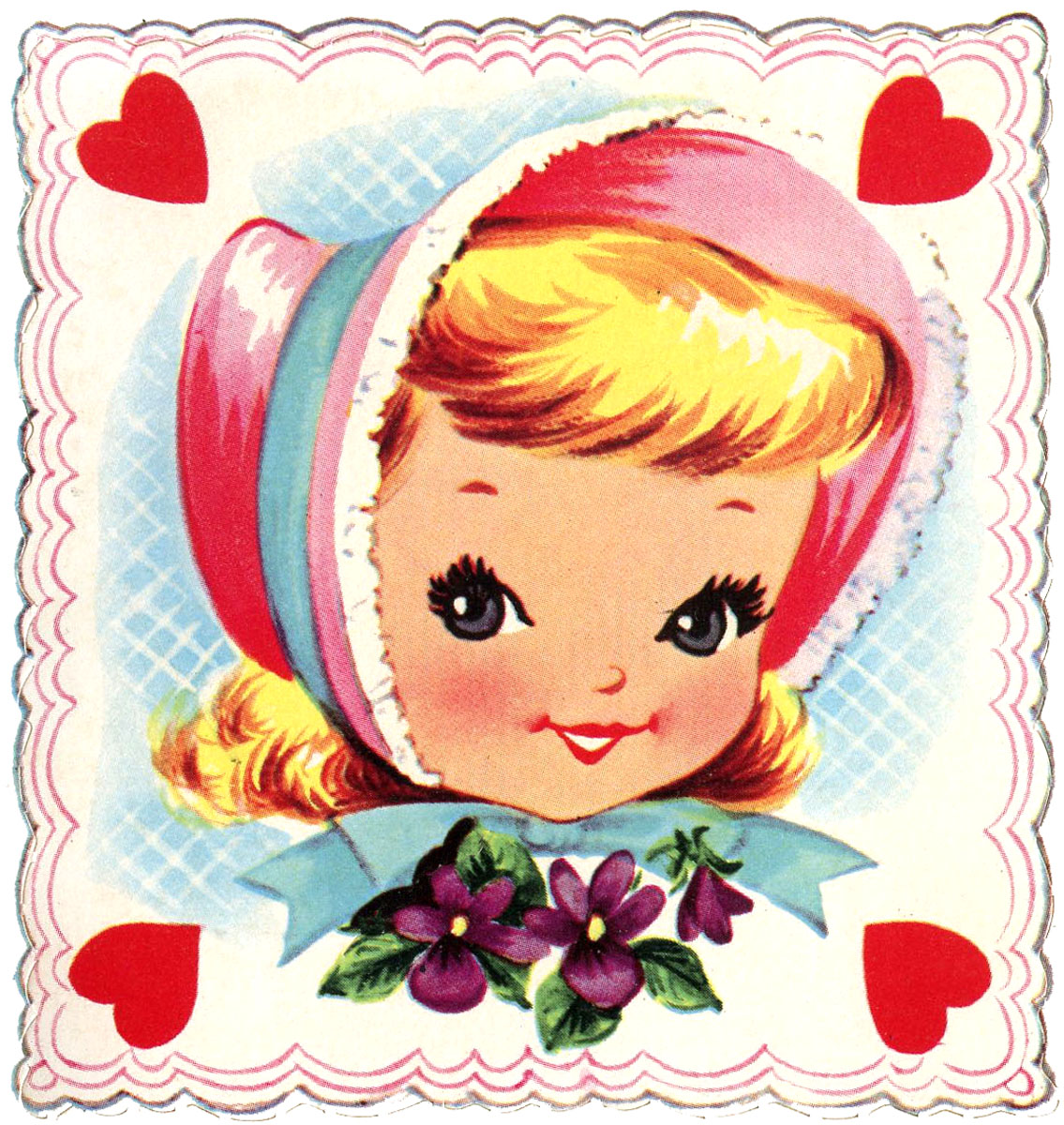 Retro Girl in Bonnet Valentine Square