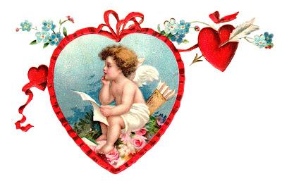 Victorian Image Valentine Cherub Hearts