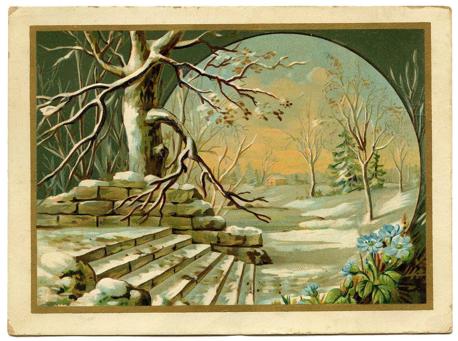Vintage Graphic Winter Landscape The Graphics Fairy