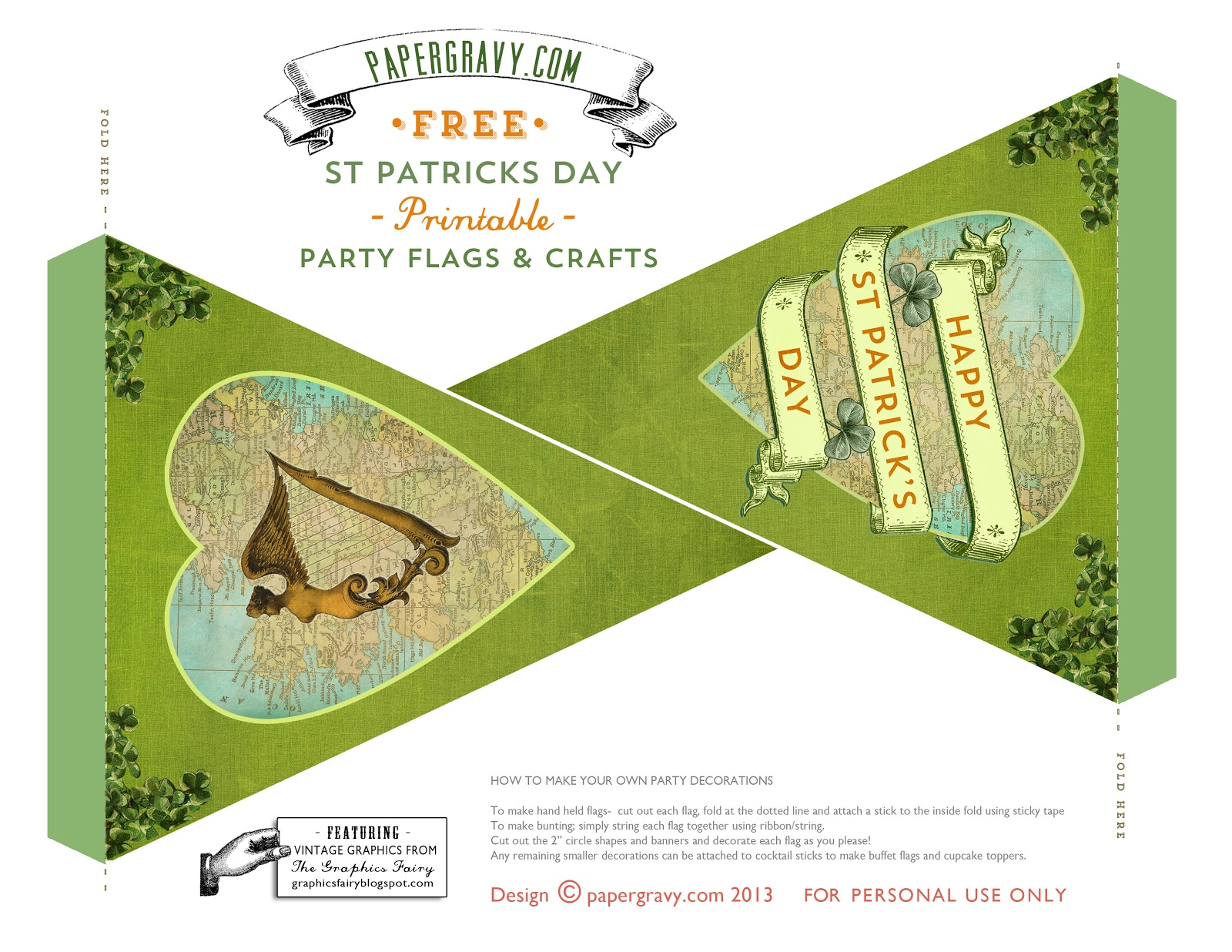 Vintage Printables - St. Patrick's Day - Flags - Buntings - Stickers - The Graphics Fairy