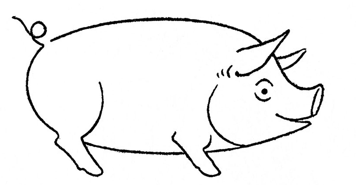 How to draw animals pig