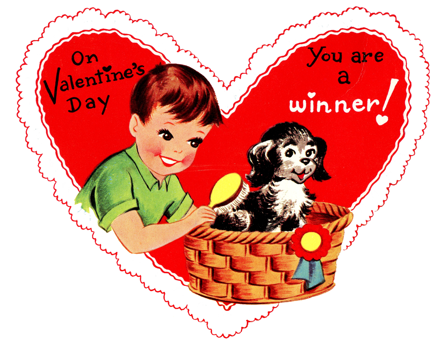 Retro Valentines Graphic  Cute Boy with Pup  The Graphics Fairy