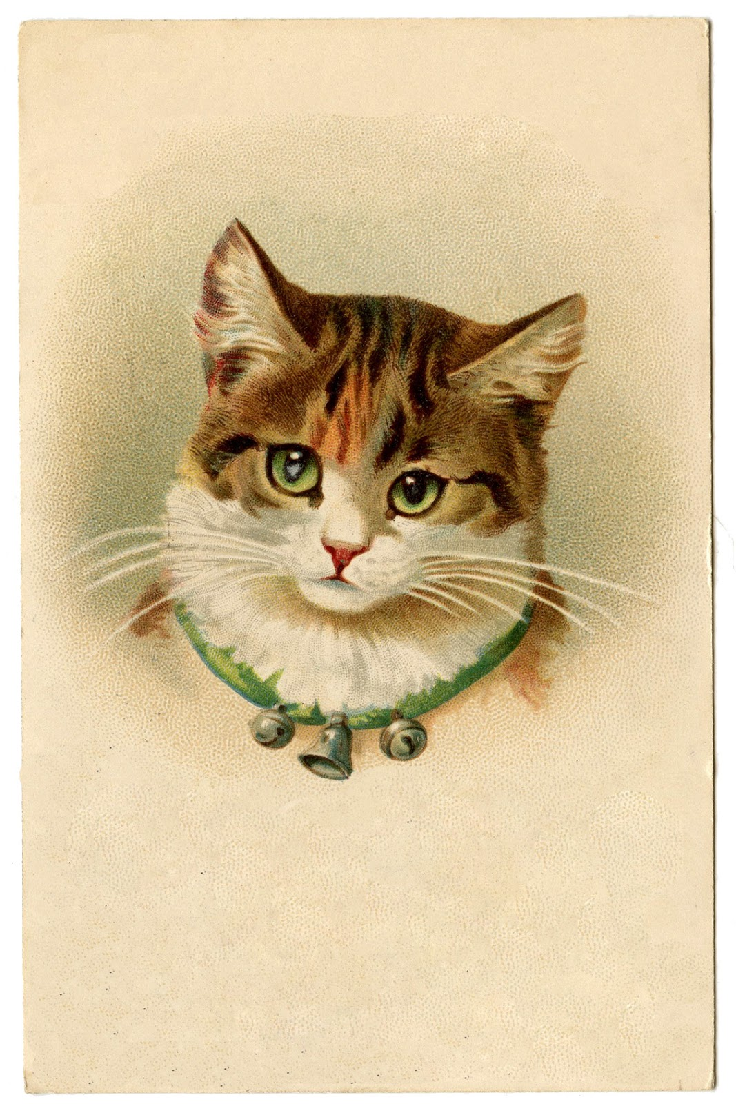 Vintage Pictures - Cute Kitty Cat with Bells - The Graphics Fairy