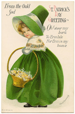 Vintage Image St Patrick's Day Girl in Green
