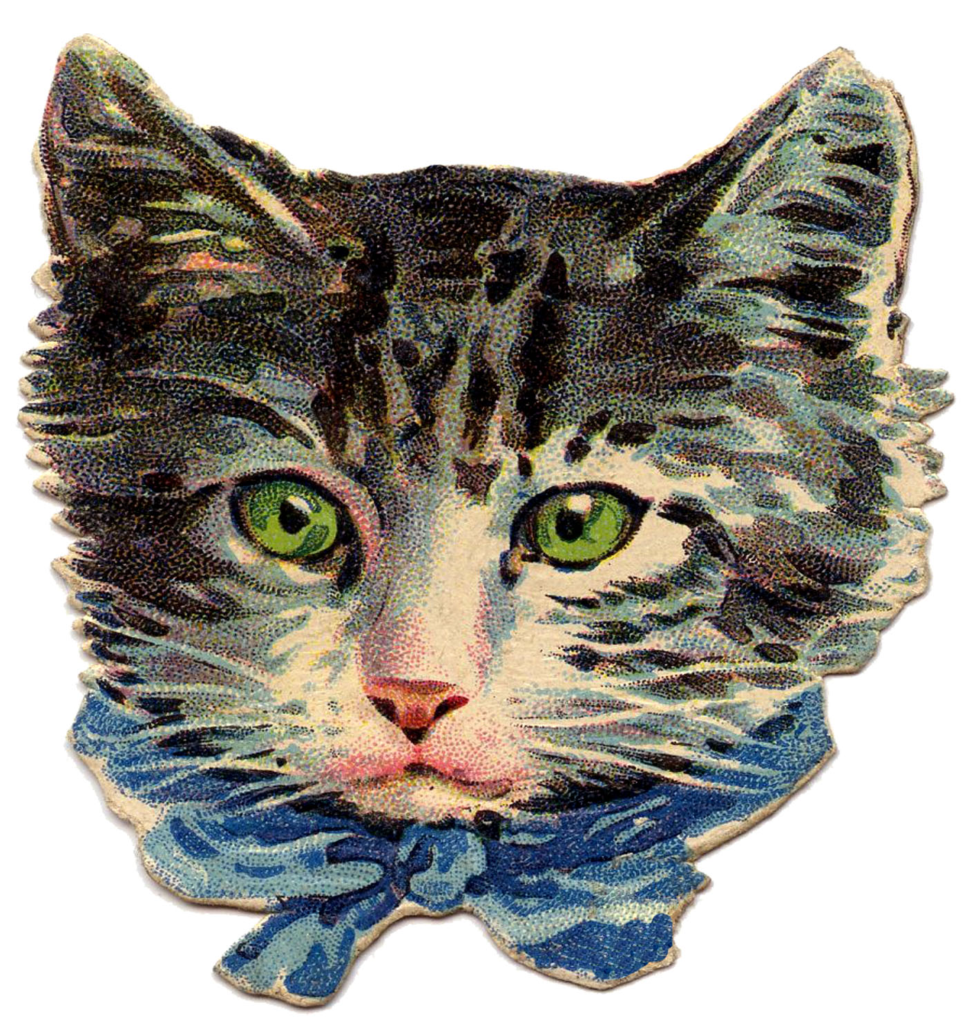 Classic Retro Illustration: Kitty Cat With Green Eyes