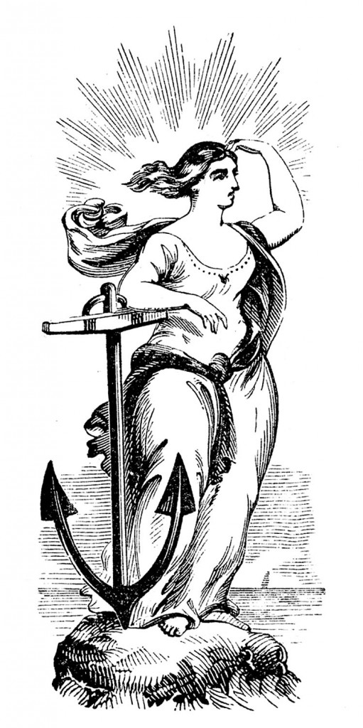 Woman with Anchor Clip Art