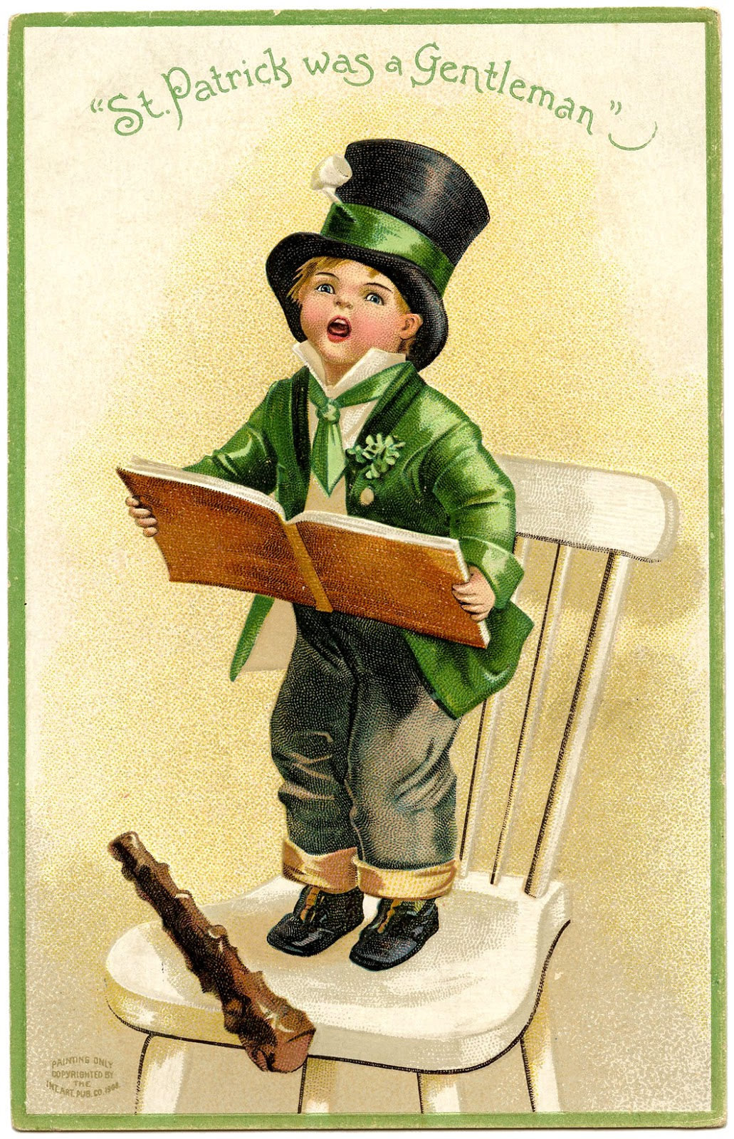 Vintage St Patricks Day Image Boy Irish Green
