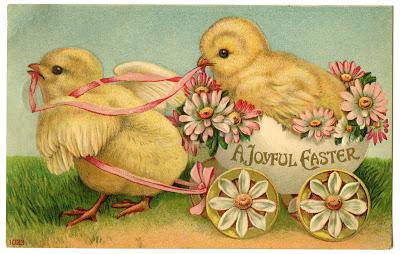 Stock Image Easter Chicks Egg Cart Vintage Postcard