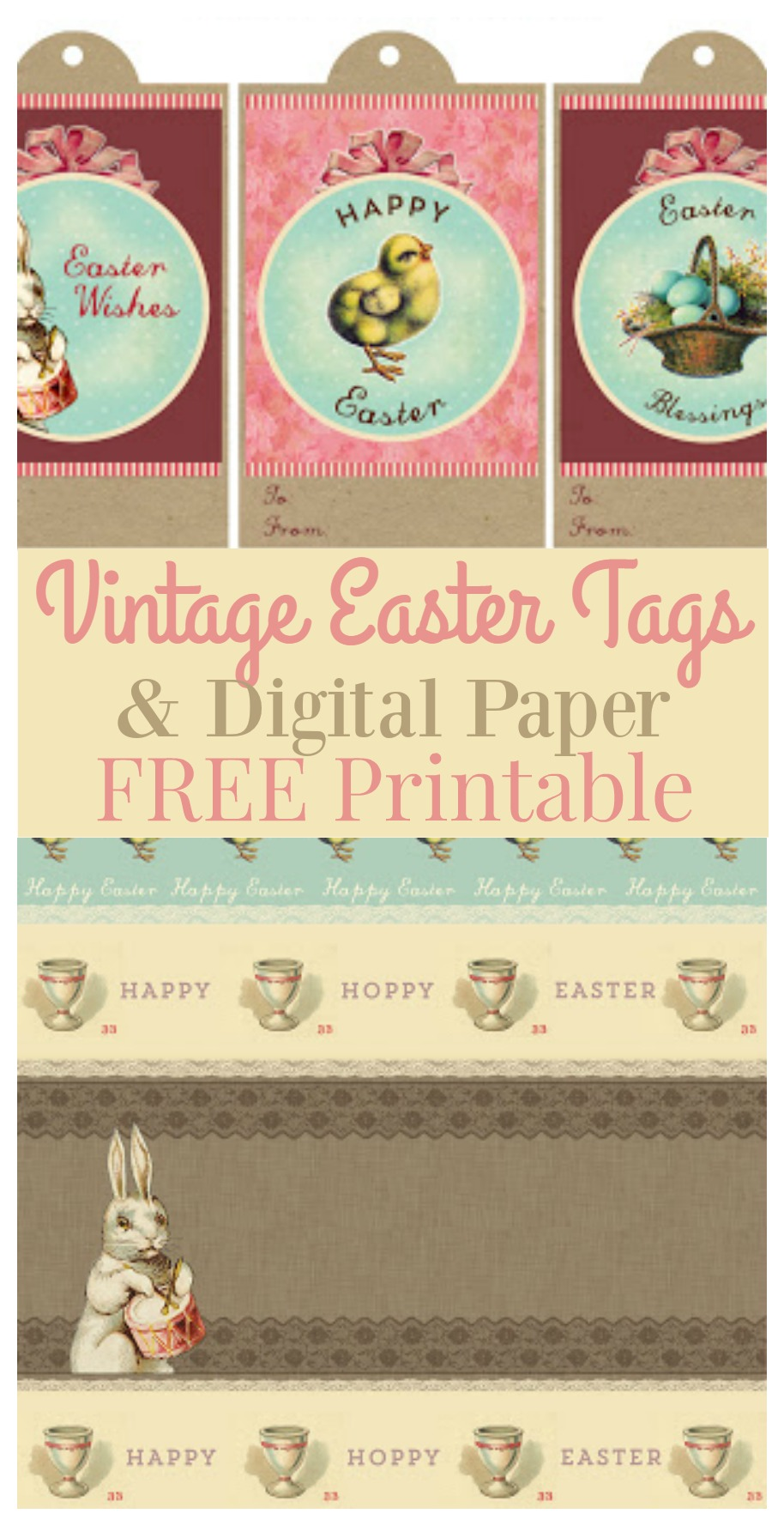 Vintage Easter Tags & Digital Paper FREE Printable