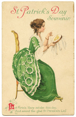 Vintage St. Patrick's Day Image - Lady with Harp