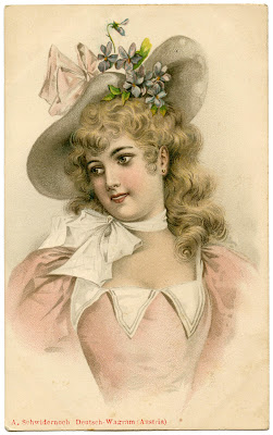 Vintage Lady Image with Easter Bonnet