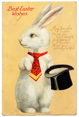 Vintage Easter Image  Quirky White Rabbit Top Hat