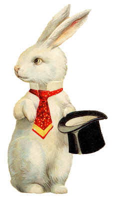 Vintage Easter Image - Quirky White Rabbit Top Hat