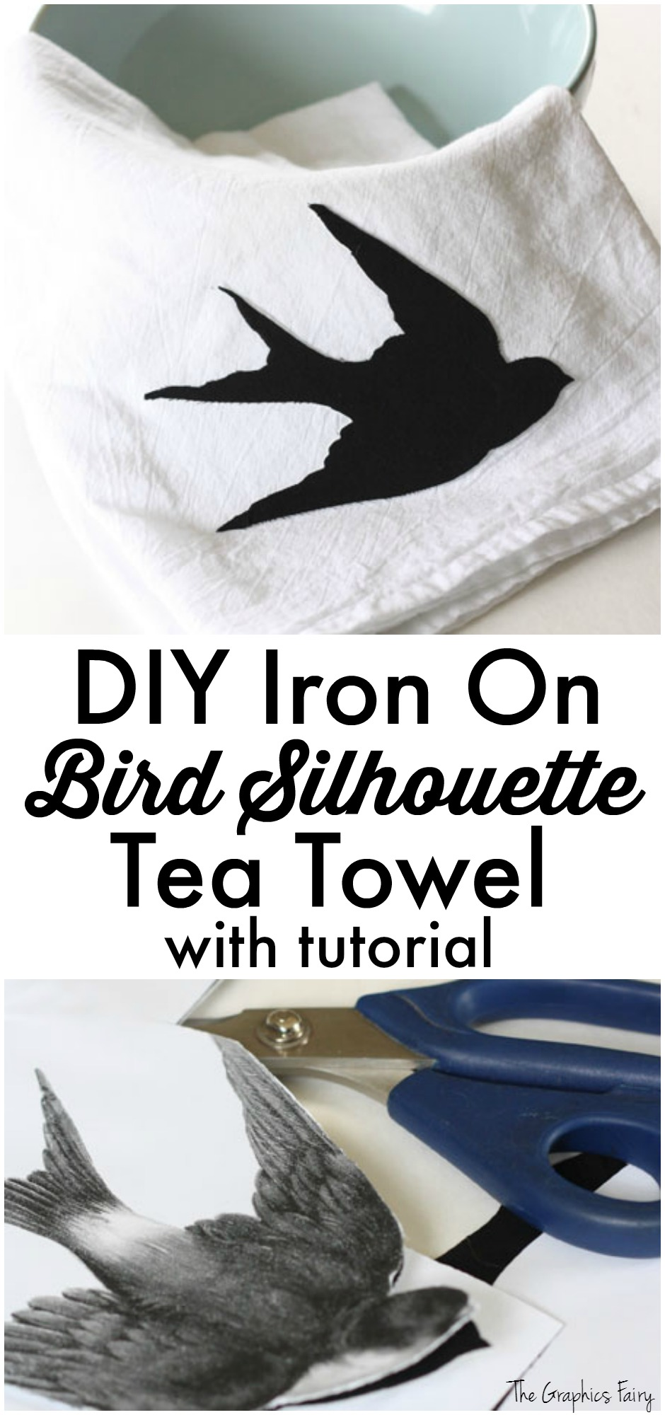DIY Iron On Bird Silhouette Tea Towel with Tutorial - The Graphics Fairy