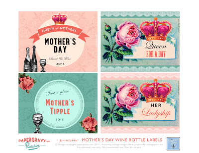 Mother's Day Printable  Wine Labels Vintage Crowns