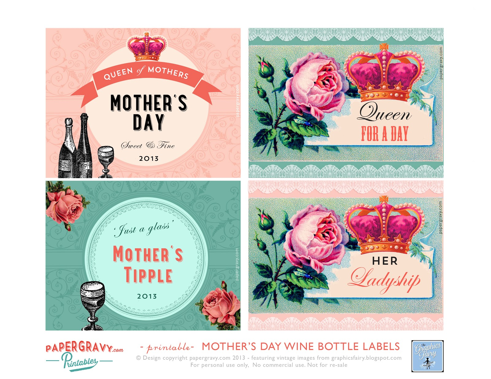 mothers day printable wine labels vintage crowns