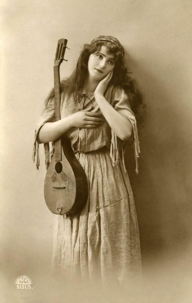 Old Photo Bohemian Woman Picture with Guitar