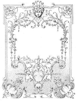 Vintage Illustration  European Label - Frame Black White
