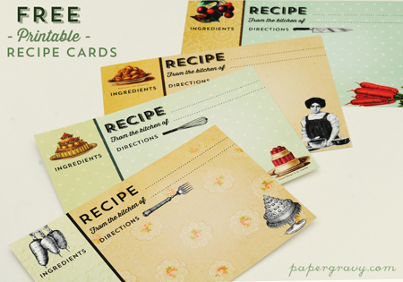 Printable Vintage Recipe Cards